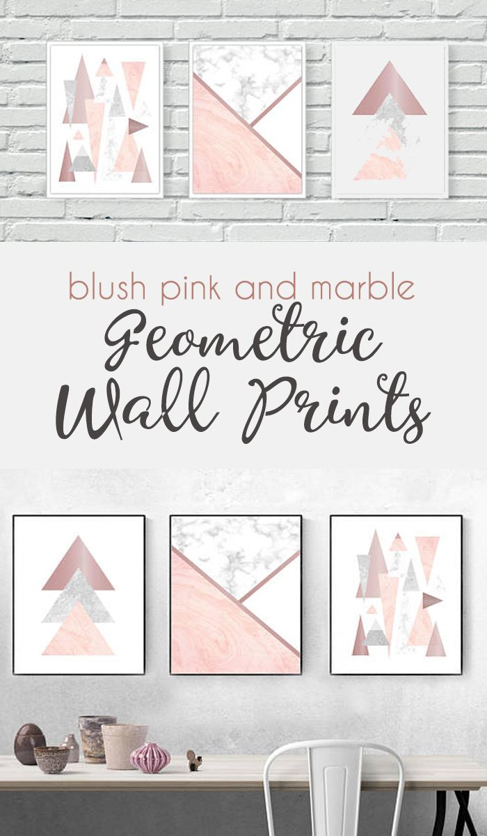 This rose gold, blush pink and marble geometric wall prints set would compliment any room in your house, particularly a living room, bedroom, dressing room or girls bedroom adding a lovely finishing touch.| pink bedroom ideas | pink gold bedroom ideas | teen bedroom | maaster bedroom | girls bedroom #Ad