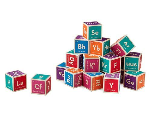 Elemental Blocks.  The entire periodic table of elements on 20 hand-crafted wood cubes.  Each block contains six element images with their atomic number, symbol, and name.