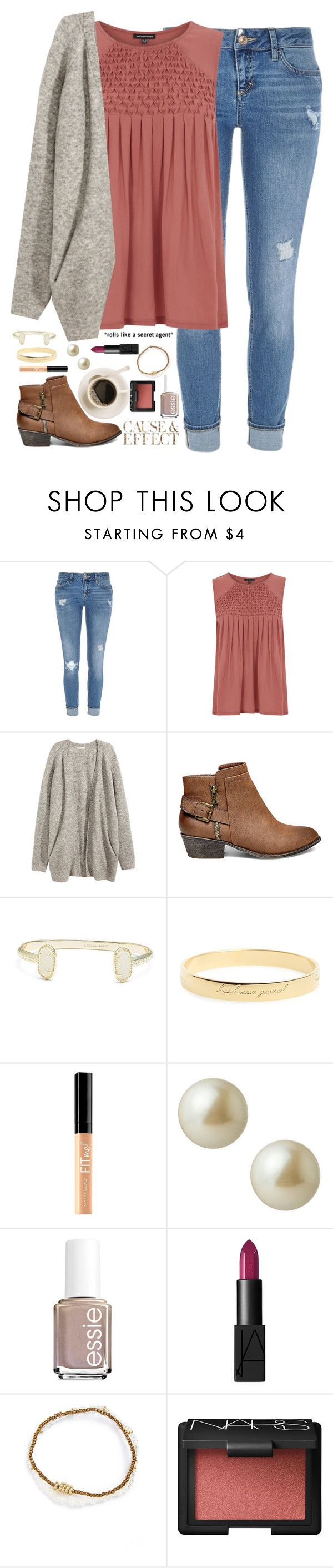 """""""I love that feeling I get when I hear your voice."""" by kaley-ii ❤ liked on Polyvore featuring River Island, Warehouse, H&M, Steve Madden, Kendra Scott, Kate Spade, Maybelline, Envi, Carolee and Essie"""