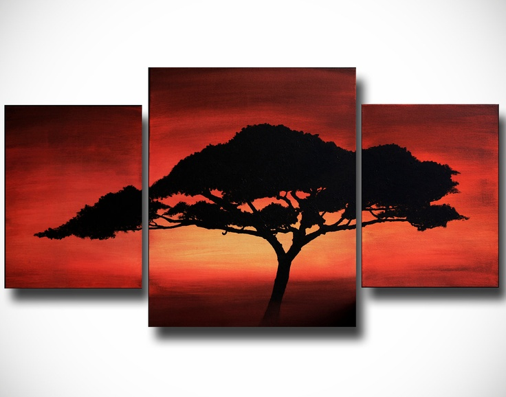 Reminds me of The Lion King. Original Acrylic African Tree Abstract Painting by TalieBagleyArt