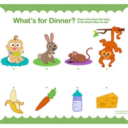 Printable Toddler Activity: What's for Dinner? Lots of other printables too.