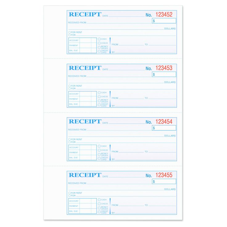 Tops Money/Rent Receipt Books, 2-3/4 x 7 1/8, Three-Part Carbonless, 100 Sets/Book, Blue