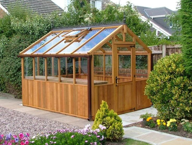 Elegant small-ish greenhouse/shed.
