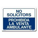 14 in. x 10 in. Blue on White Plastic No Solicitors/Prohibida La Venta Ambulante Sign, Blue And White
