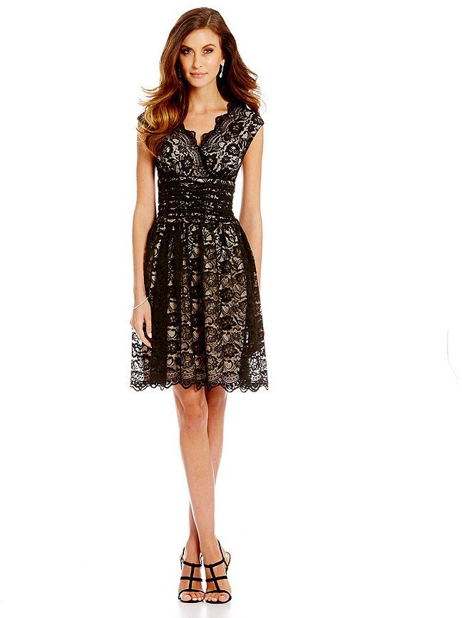 London Times Scalloped Lace Fit-and-Flare Dress - dress for pear bodyshape