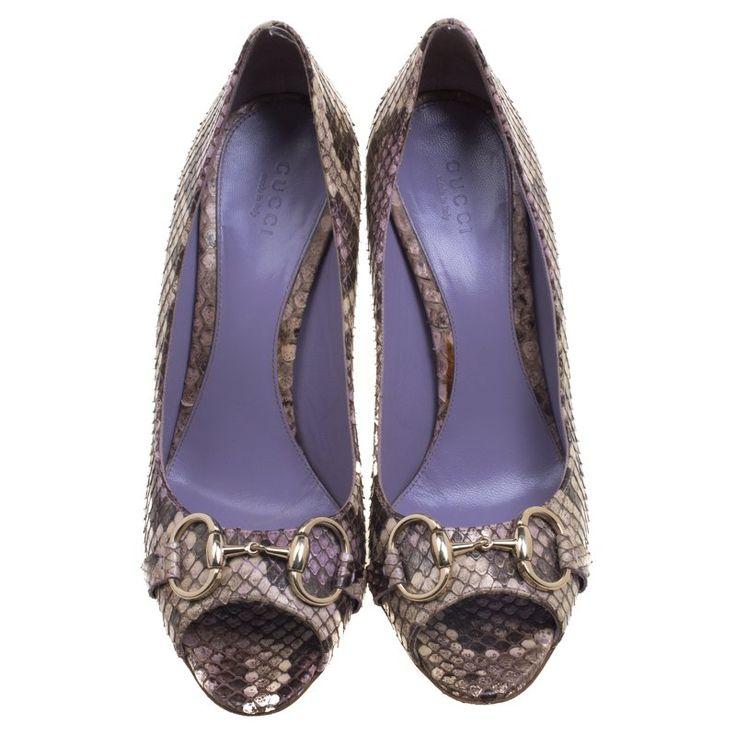 Gucci Beige Python Horsebit Peep Toe Pumps Size 39 - Buy & Sell - LC