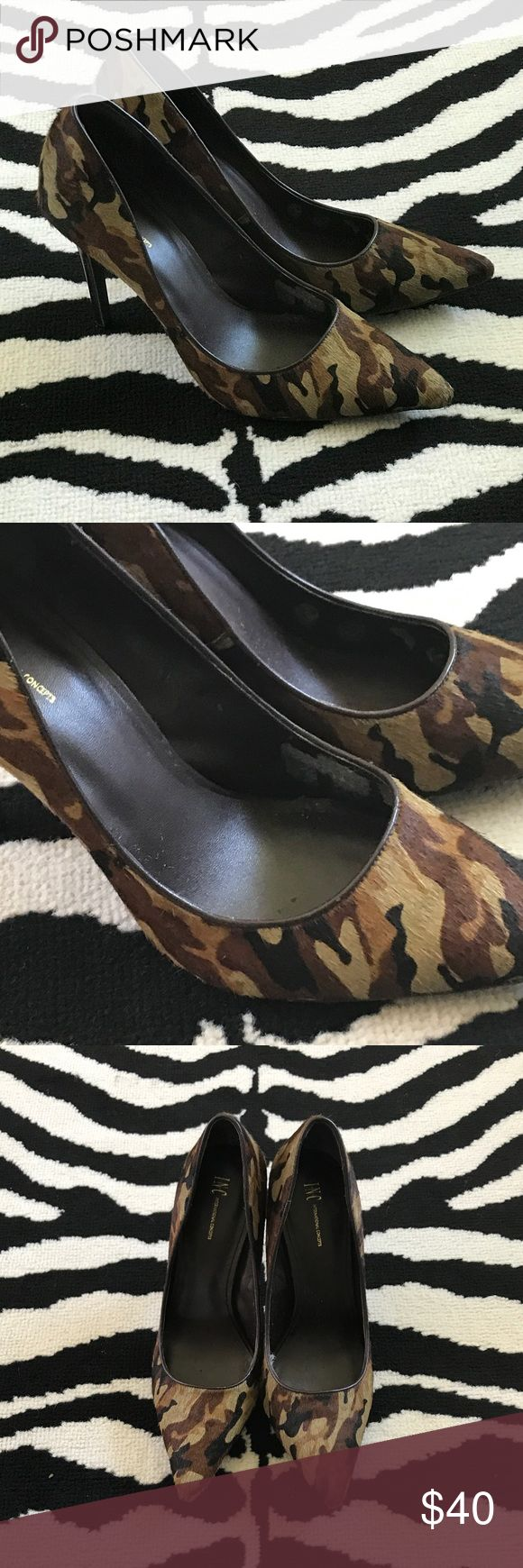 "Camouflage Heels Real calf hair camouflage heels. Pointy toe pumps, some hair shedding on toe not noticeable when wearing. Shoe lightly worn but worn in high humidity which caused slight peeling of synthetic interior. See pics.still a great shoe with great sole. 4"" heel. INC International Concepts Shoes Heels"
