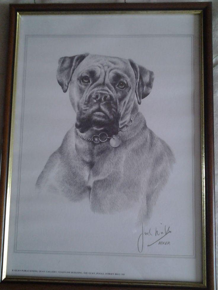 9 x 12   JOEL HILL ~ FRAMED BOXER DOG PRINT~SIGNED