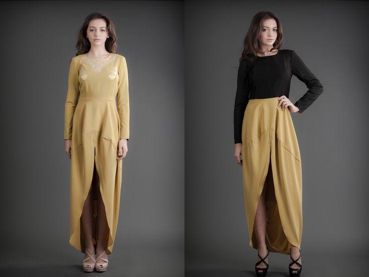 2 in 1 Dress - Mustard & Nude