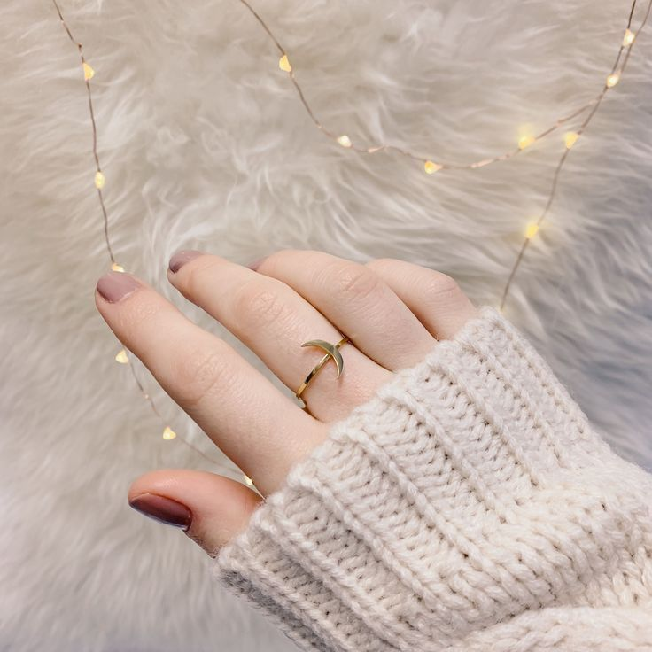 Half Moon Delicate Ring Gold – #halfmoon #ring #goldjewelry #chic #ootd   – makeup
