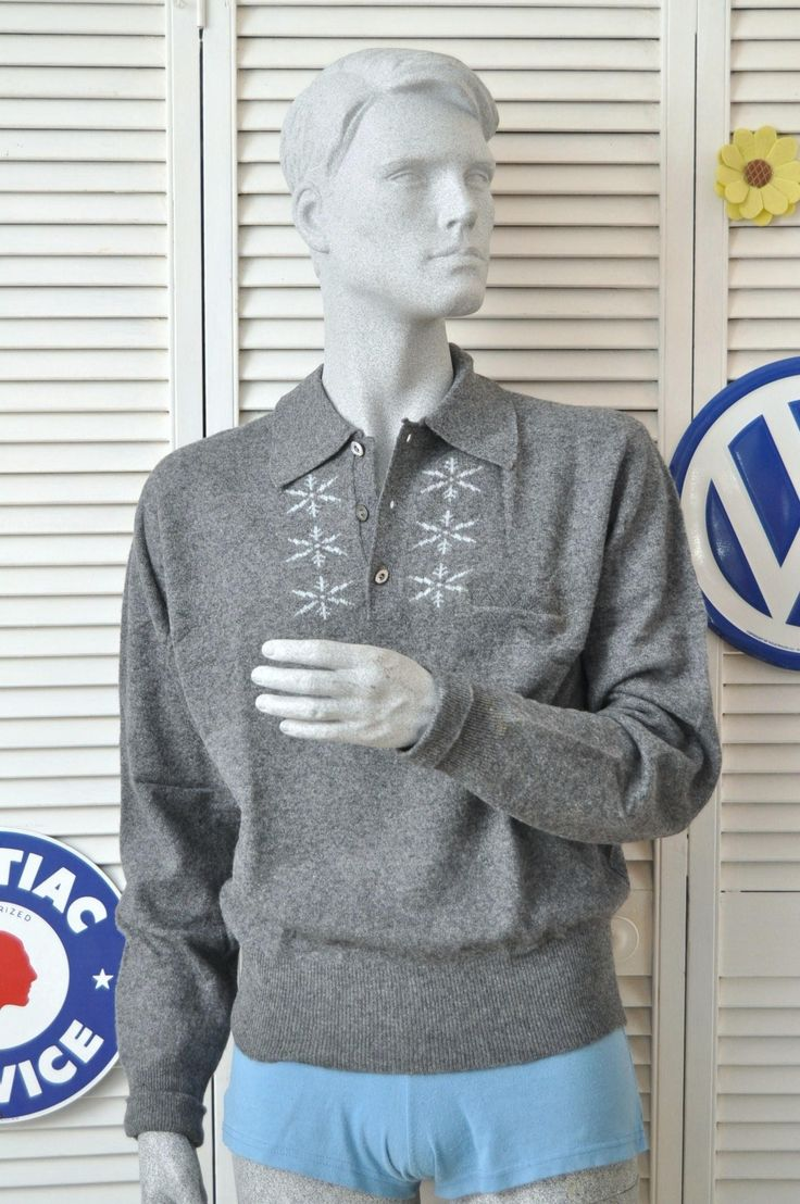 Vintage Mens 50s 60s Rockabilly Snowflake Ski Sweater Winter Gray Long Sleeve Soft Pullover med-L California Sweater Corp Lambswool Silk IOB by HotRodGirlVintage on Etsy