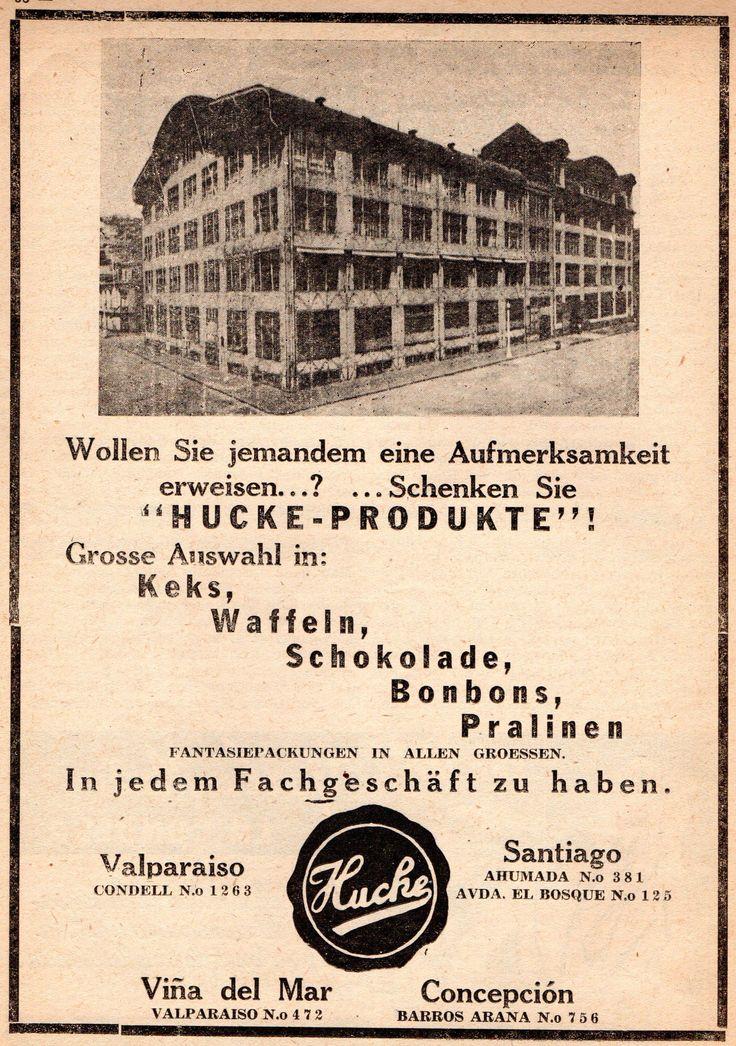 Hucke - Produkte. Keks, Waffeln, Schokolade, Bonbons, Pralinen. Compañía Pan y Galletas Hucke (Chile). Publicado en Condor 22.08.1946