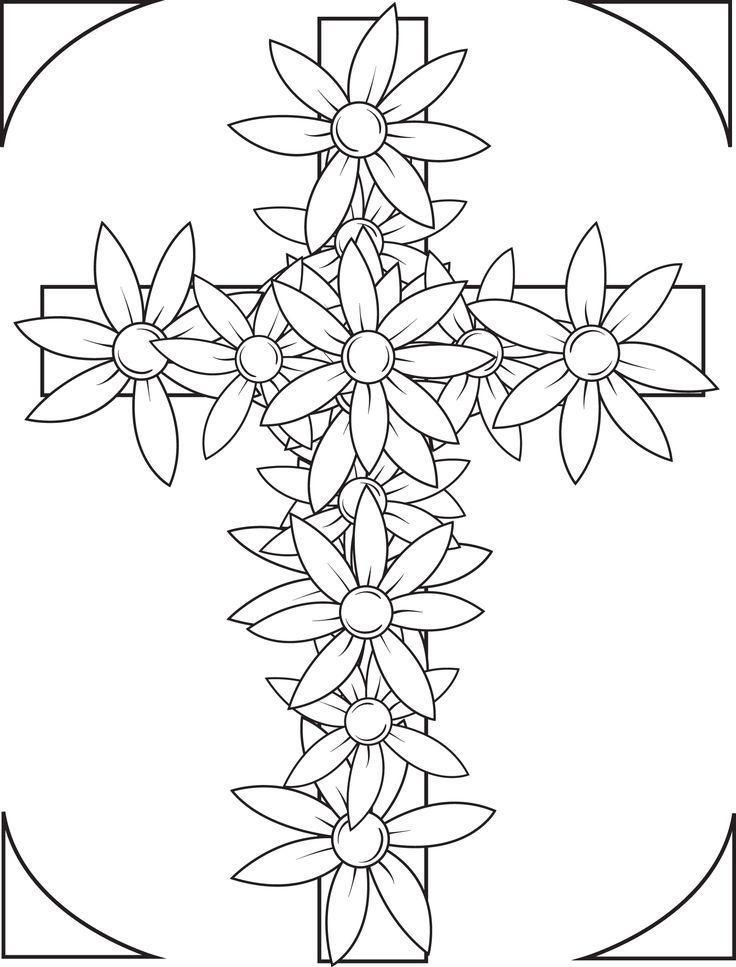 Coloring Books Of Flowers Print 4590crosswithflowerscoloringpagejpg MPM
