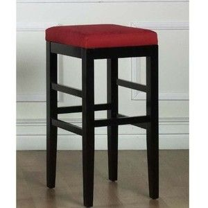 Sonata Stationary Microfiber Barstool with Black Legs