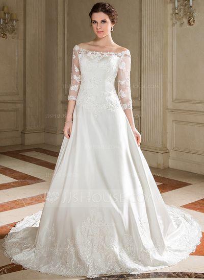 Wedding Dresses - $196.99 - A-Line/Princess Off-the-Shoulder Chapel Train Satin Tulle Wedding Dress With Lace Beadwork Sequins (002000095) http://jjshouse.com/A-Line-Princess-Off-The-Shoulder-Chapel-Train-Satin-Tulle-Wedding-Dress-With-Lace-Beadwork-Sequins-002000095-g95