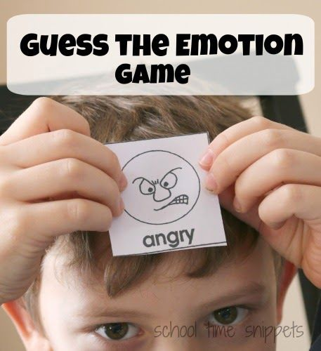 "guess the emotion game- just like the game TABO - write down emotions on a card & place in a bowl. Draw a card and try to have the other person guess the emotion with your clues ** you can't use the word! For example for the emotion card angry you could say ""this is how you might feel if someone took the last cookie."""