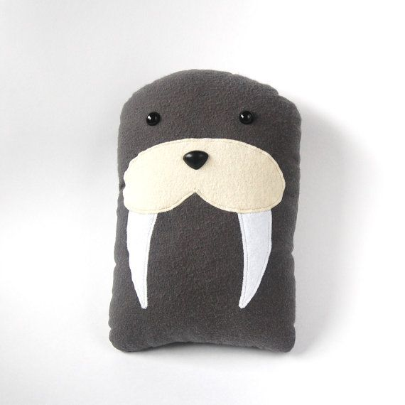 Walrus Plush Stuffed Animal Pillow - Gray Marine Mammal Sea Creature Underwater - Walter - FREE U.S. SHIPPING on Etsy, £25.64