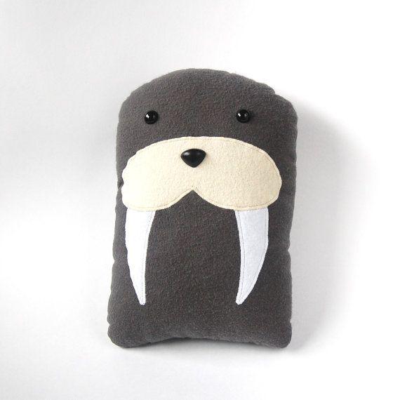 Walrus Plush Stuffed Animal Pillow - Gray Marine Mammal Sea Creature Underwater - Walter