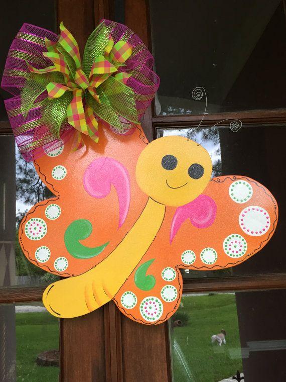 Door Hanger Butterfly Door Hanger Summer by DesignsbyDonnaFaye