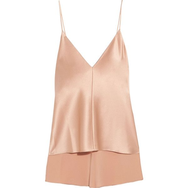 Juan Carlos ObandoSilk-satin Camisole ($595) ❤ liked on Polyvore featuring intimates, camis, neutral, satin cami, juan carlos obando, vintage camisole, satin camisole and strappy cami