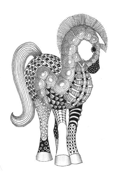 zentangle paint pony by Kay Flickr, via Flickr