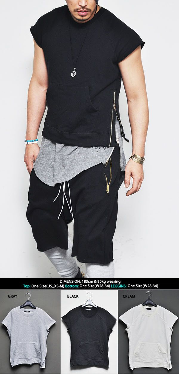 Tops :: Tees :: Designer's Side Zip Pocket Crew-Tee 301 - Mens Fashion Clothing For An Attractive Guy Look