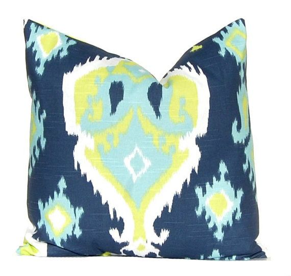 Pillows, Decorative Throw Pillow Cover Home Decor Navy Blue and Lime Green Domino Dots Cushion Cover Toss Pillow One All Sizes Blue Feathers...
