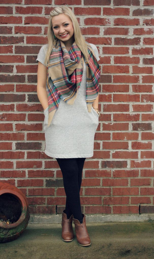 goodwillista | sweatshirt dress and plaid blanket scarf
