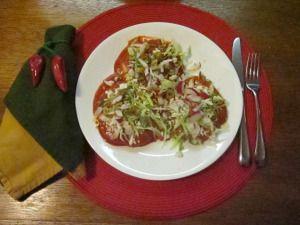 Sonoran Flat Enchiladas, SavorTheSouthwest (garlic, flour, chile paste, broth; fresh masa, lard, queso fresco, baking powder; oil for frying; toppings of choice)