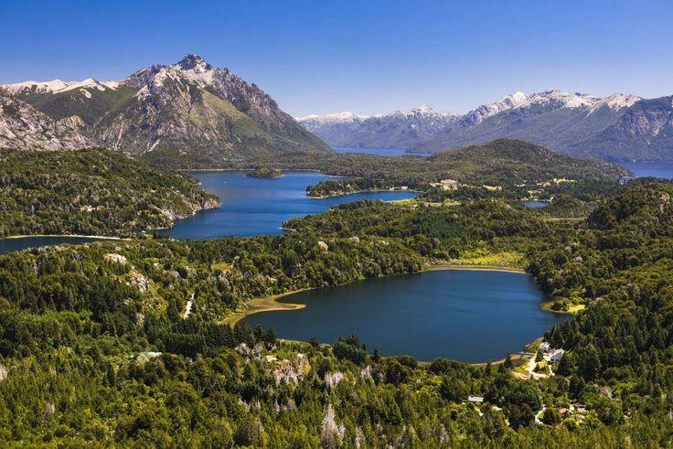 View of Argentinian Lake District and Andes Mountains from Cerro Campanario (Campanario Hill), San Carlos de Bariloche, Rio Negro Province, Patagonia, Argentina