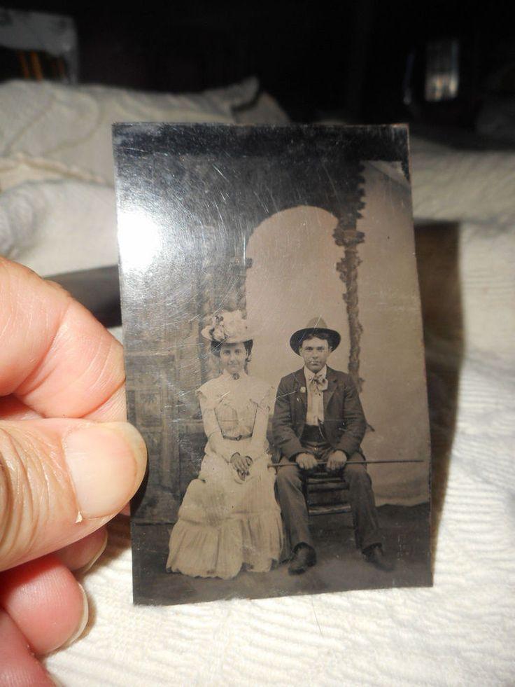 VINTAGE TINTYPE PHOTO YOUNG COUPLE, WEDDING? FREE SHIPPING