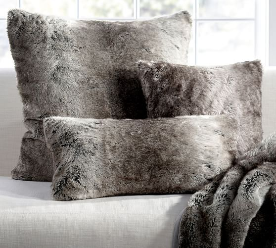 Faux Fur Pillow Cover - Gray Ombre | Pottery Barn