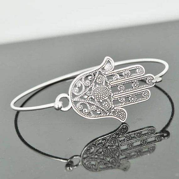Hamsa Bangle Hamsa Jewelry Hamsa Bracelet Sterling by JubileJewel