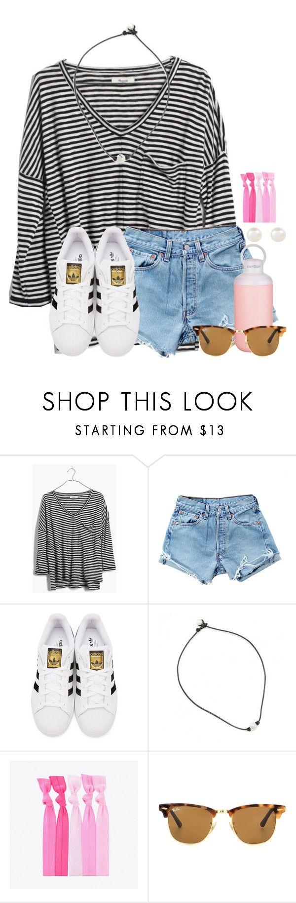 """""""Pop of Pink """" by aweaver-2 on Polyvore featuring Madewell, Levi's, adidas Originals, Contigo, Popband, Ray-Ban and Accessorize"""