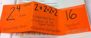 Math Notebooks: Exponents Foldable and Math Language