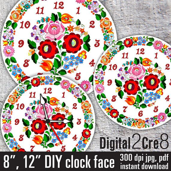 Clock face Traditional Hungarian Kalocsai folk art style - Digital Downloads - DIY - Printable Image - Wall Decor - Crafts - jpg+pdf