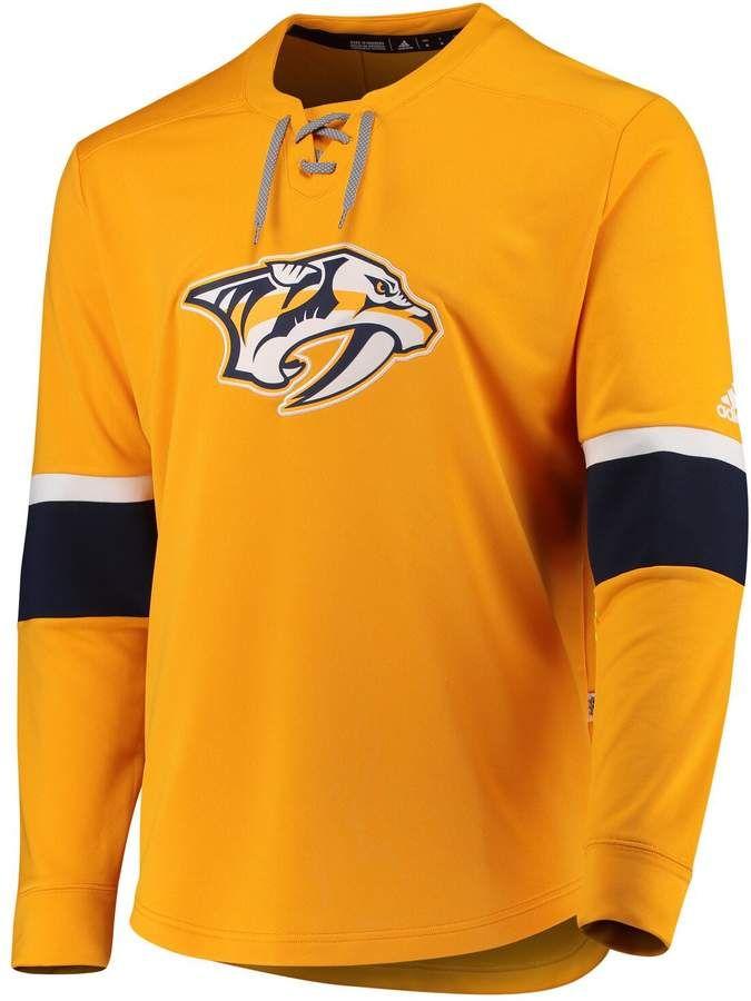 Nashville Predators adidas Authentic Pro Quarter Zip Jacket Gold