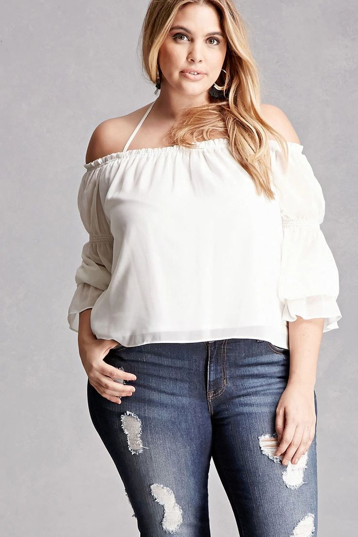 Forever 21+ - A woven top by COC™ featuring an elasticized off-the-shoulder neckline with a ruffled trim, self-tie halter straps, long sleeves with elasticized bands and trumpet cuffs, and a flowy silhouette.