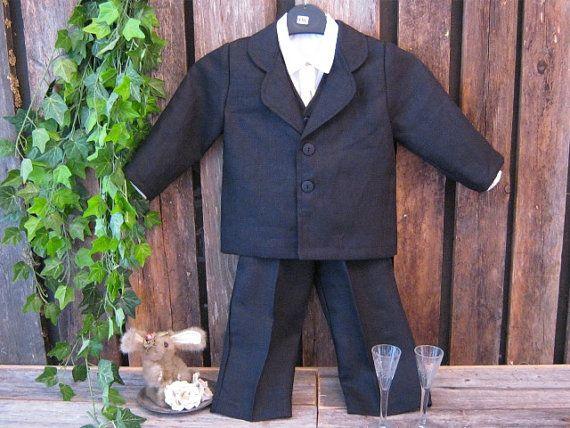 Ringbearer black linen suit, 3 piece. Toddler, ringbearer, formal, black tie