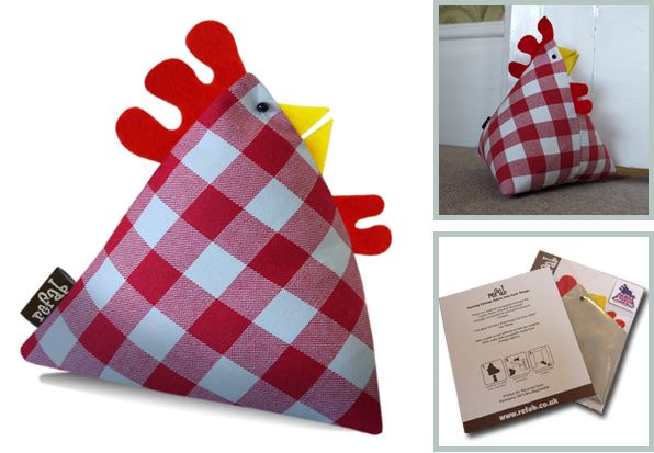 Funky Chicken Doorstop. The Price is £10 flat-packed or £12 filled at the market. Trade on Saturdays and Sundays. www.refab.co.uk