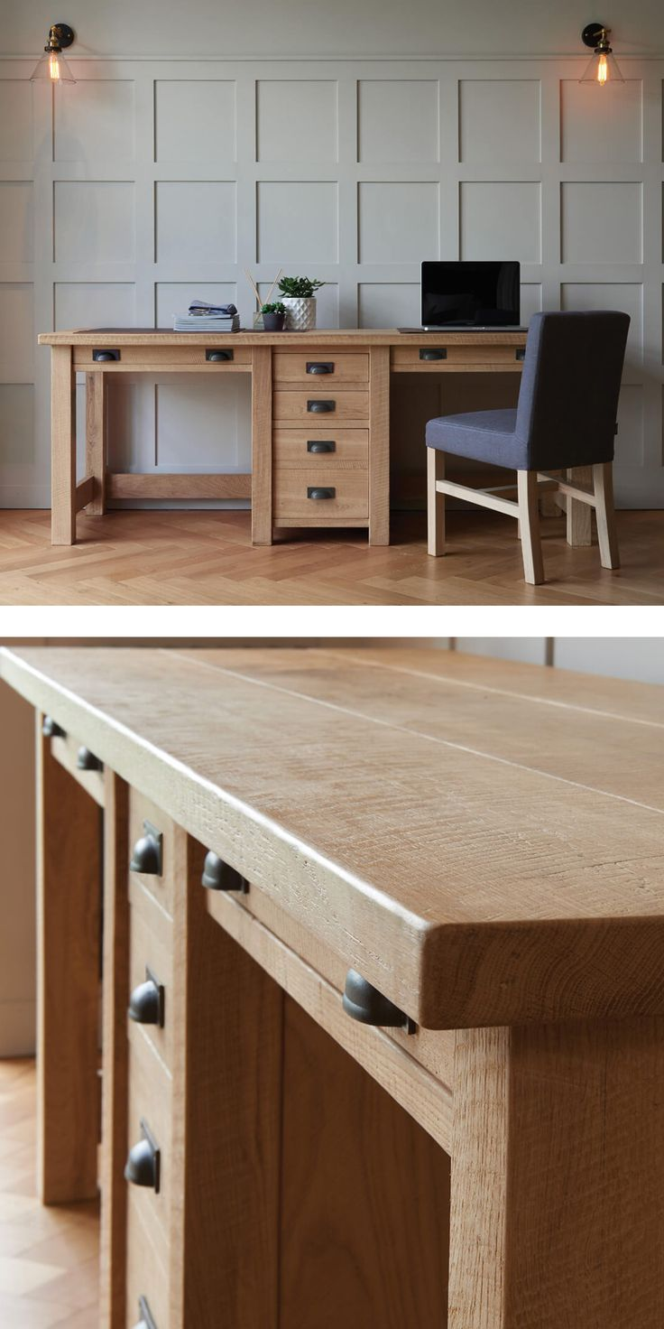 Create an inspiring, unique workspace with The Companion's Oak Desk.  Designed