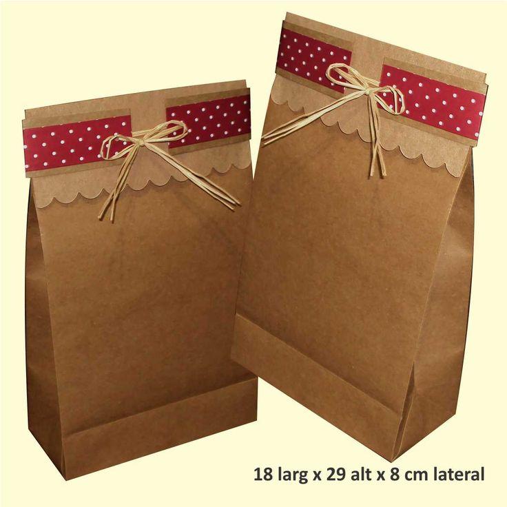 Saco de papel kraft decorado www.papelsustentavelembalagens.com.br