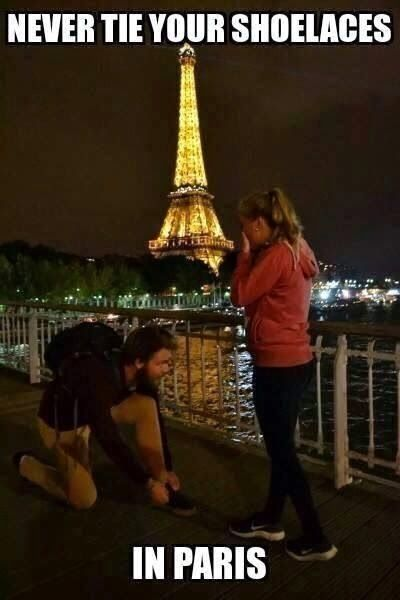 Funny never tie shoelaces in Paris