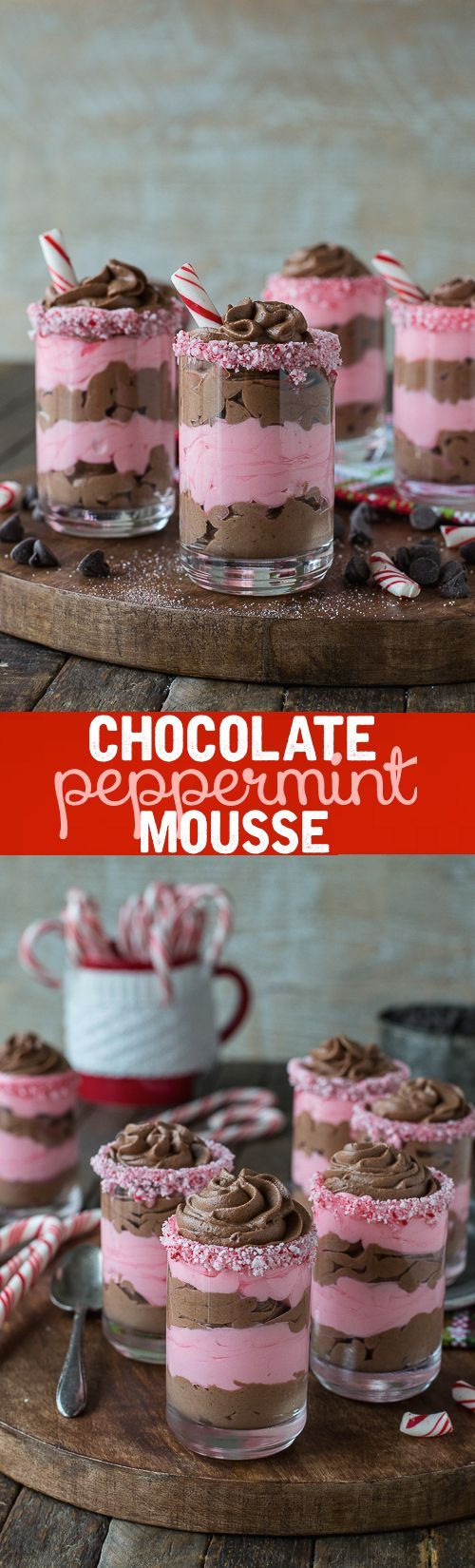Layered chocolate peppermint mousse in dessert glasses! This is the best mousse and it's eggless!