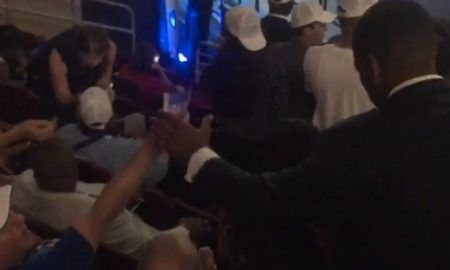 Video: DNC Staff Take Bernie Signs Away From Delegates & Threaten To Take Their Credentials. http://usuncut.com/politics/dnc-bernie-sanders-posters-taken/ …