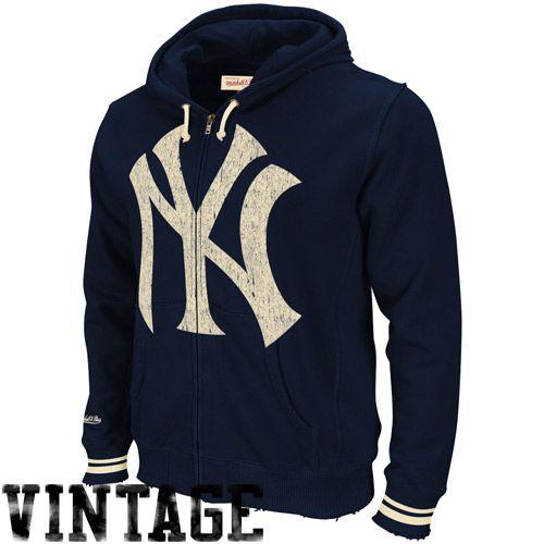 Mitchell & Ness New York Yankees Navy Blue Sandlot Full Zip Hoodie  Sweatshirt