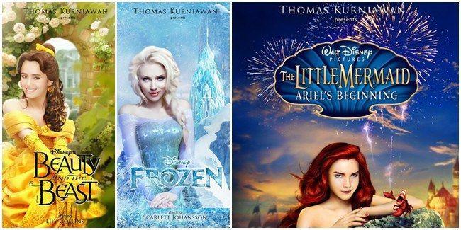 Vemale.com - Poster karya desainer grafis Thomas Kurniawan ini mengubah cast princess Disney menjadi aktris-aktris cantik ternama dunia.