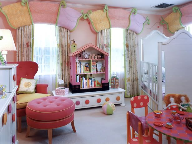 Very Playful...The shape of the cornice boards is a cute twist. Polka Dot !
