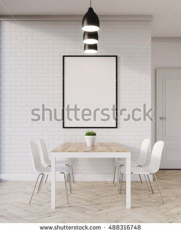 Wooden dining table in flat with chairs and picture hanging on white brick wall. Concept of cosy home. 3d rendering. Mock up