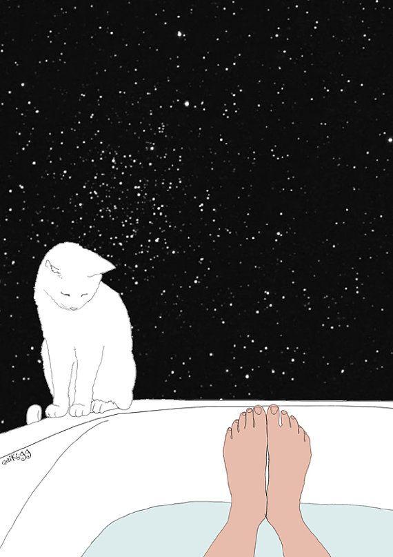 baño de estrellas Etsy Ilustración